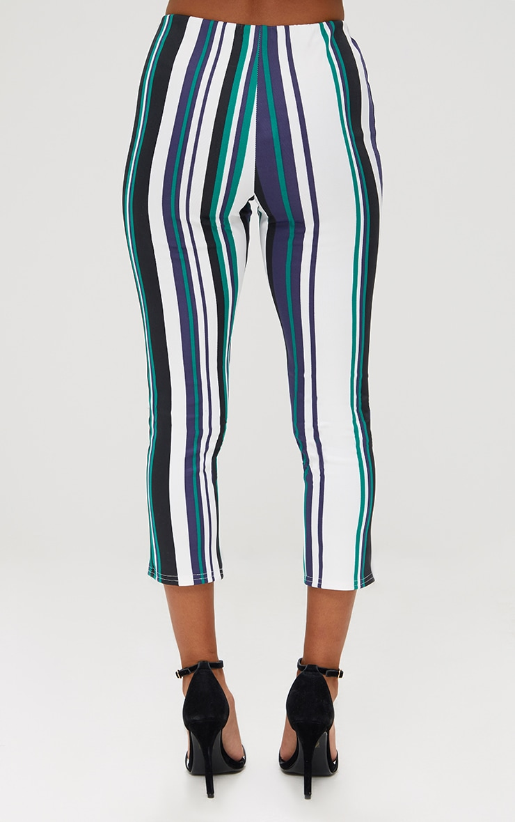 Petite Green Stripe Split Hem Trousers 4