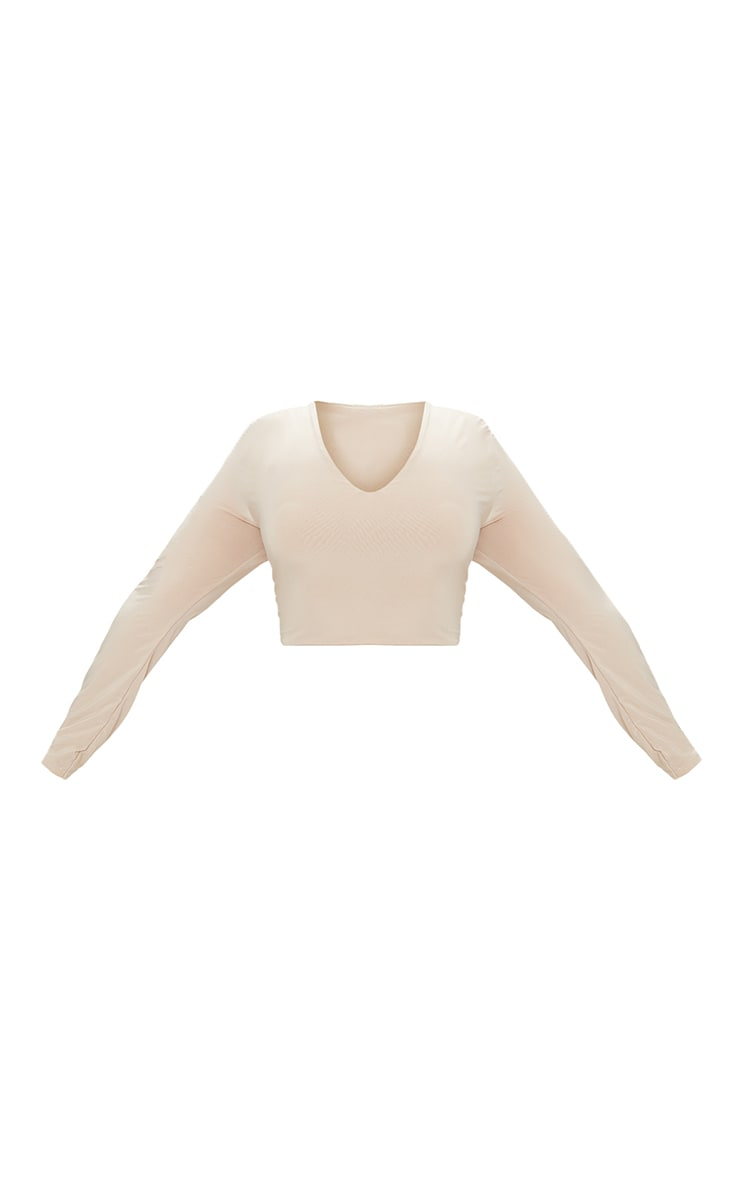 Plus Stone Second Skin Long Sleeve V Neck Crop Top 3