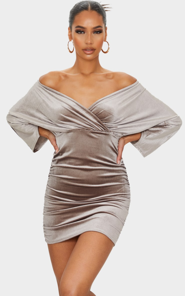 Champagne Velvet Off The Shoulder Wrap Ruched Bodycon Dress 3