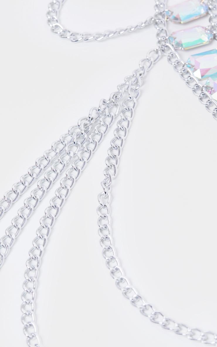 Iridescent Gemstone Silver Chain Belt 4