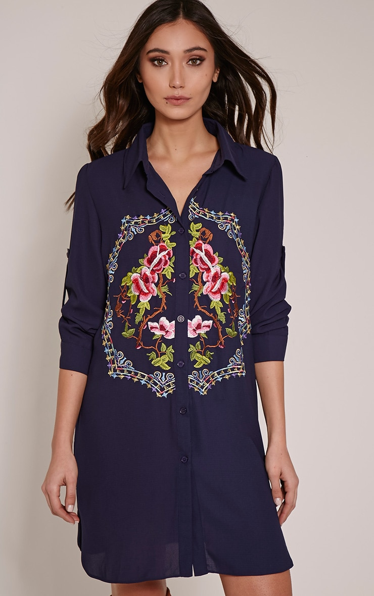 Jenna Navy Embroidered Sheer Shirt Dress 1
