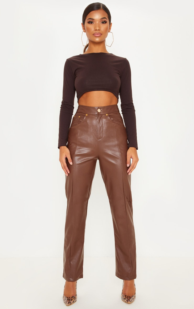 Brown Faux Leather Straight Leg Trouser by Prettylittlething