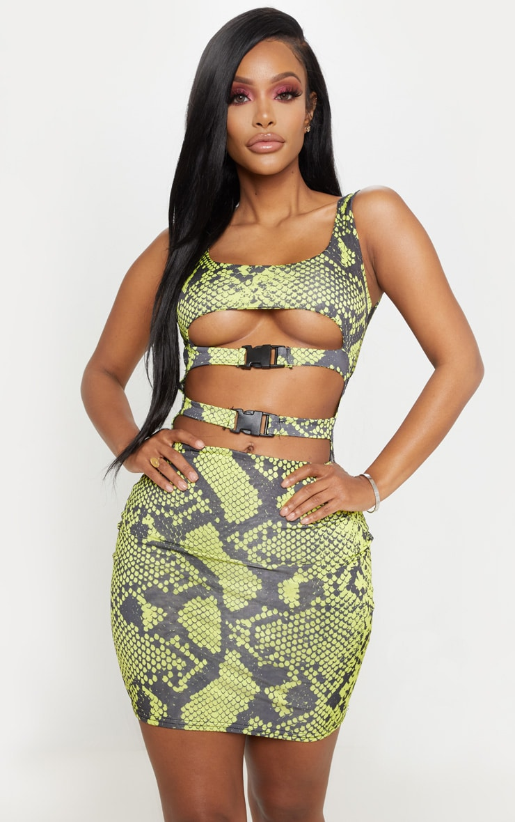 Shape Neon Lime Snake Slinky Buckle Detail Cut Out Bodycon Dress 4