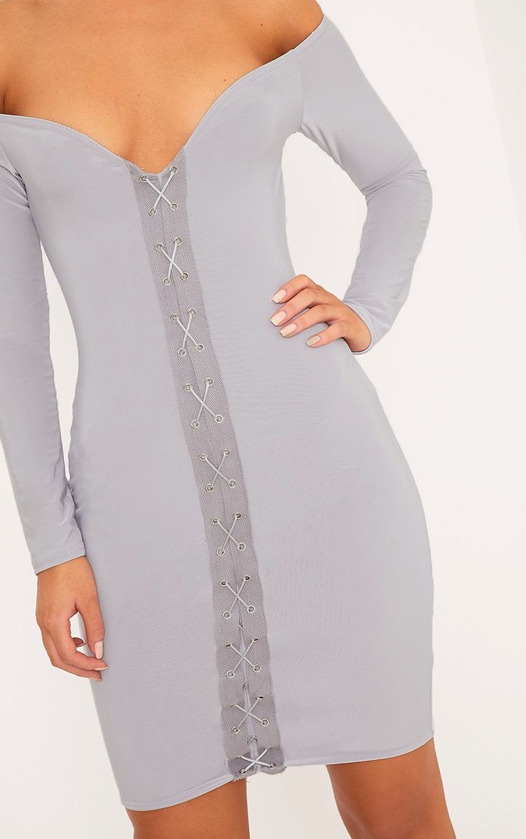 Margot Ice Grey Lace Up Bardot Bodycon Dress 4