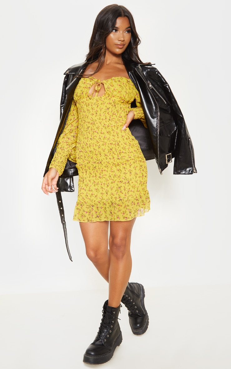 Mustard Ditsy Floral Tie Bust Shirred Frill Bodycon Dress 4