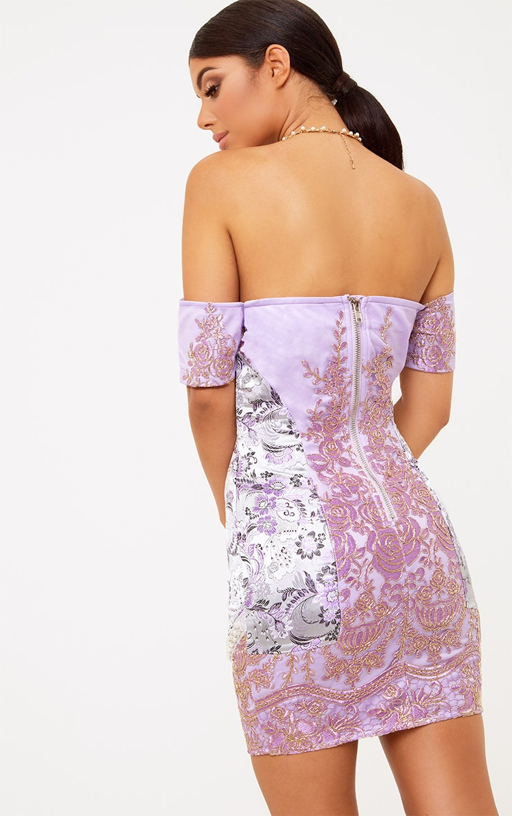 Premium Purple Embroidered Lace Bardot Bodycon Dress 3