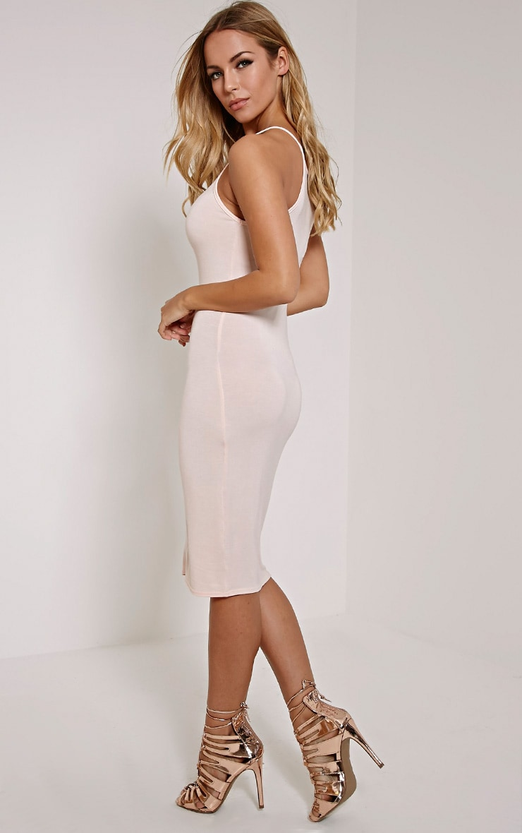 Basic Nude Thin Strap Racer Neck Jersey Midi Dress 3