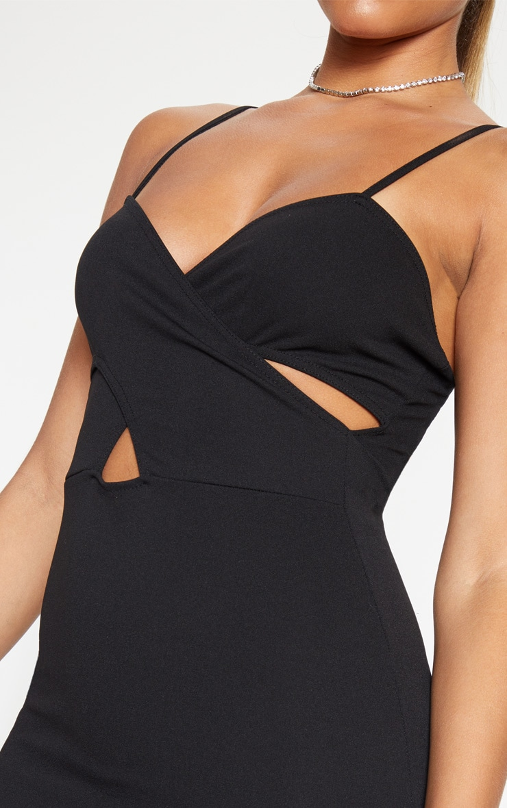 Black Strappy Cross Front Bodycon Dress 5