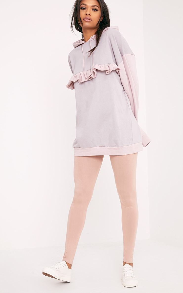 Adaline Lilac Grey Frill Oversized Hoodie 4