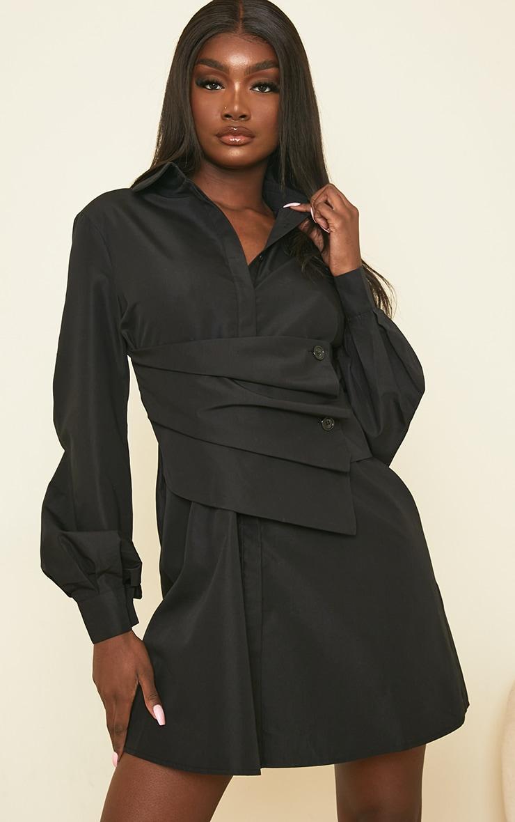 Tall Black Corset Detail Shirt Dress 1
