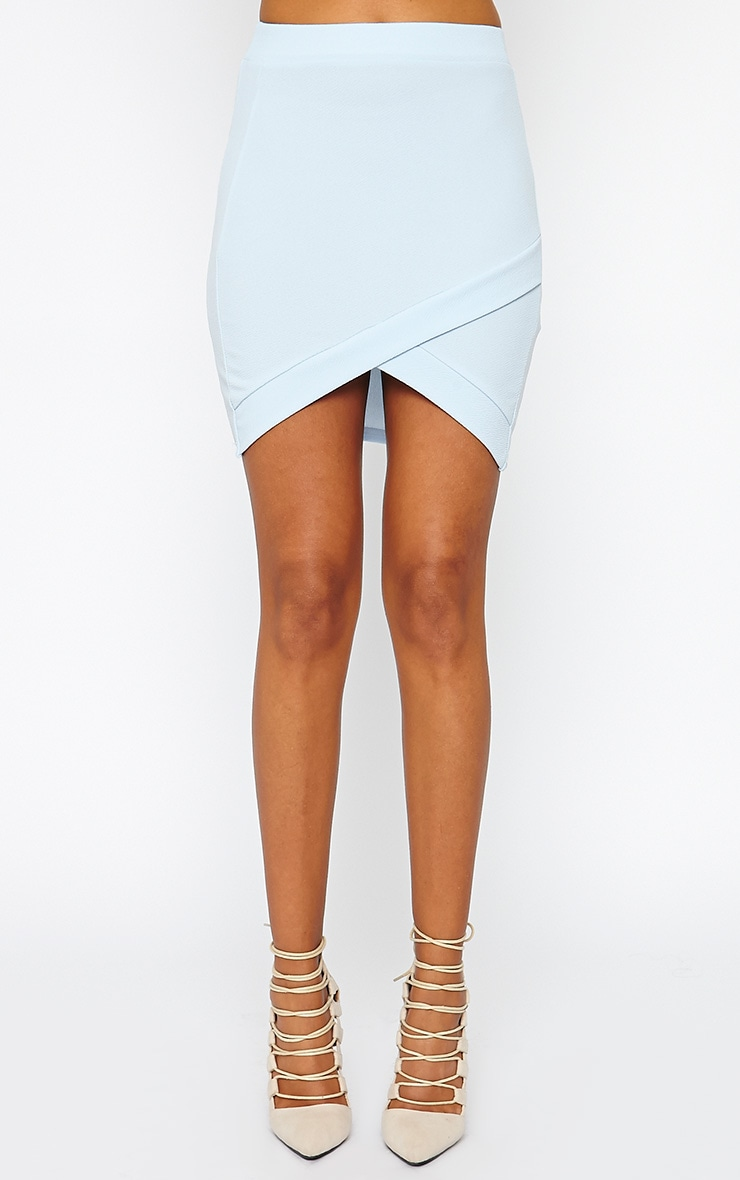 Gabriella Powder Blue Asymmetric Mini Skirt 2