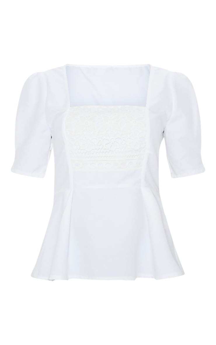 White Crochet Detail Short Sleeve Top 3