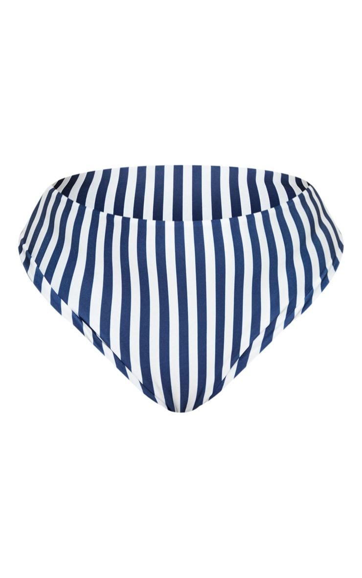 Plus Navy Striped V Bar Bikini Bottoms 5