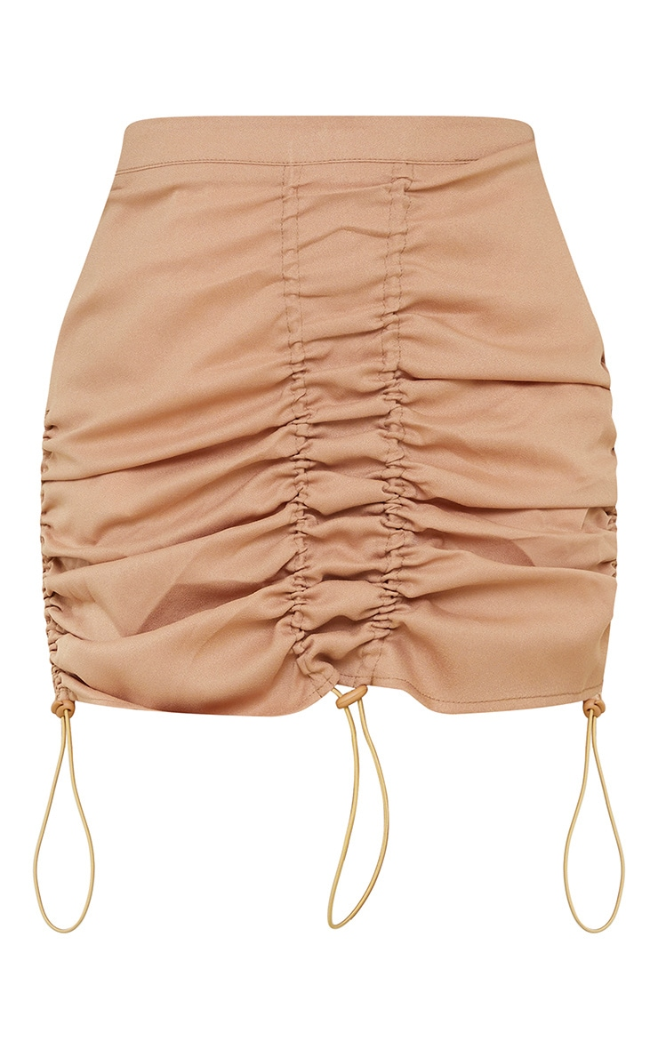 Stone Woven Ruched Detail Toggle Mini Skirt 6