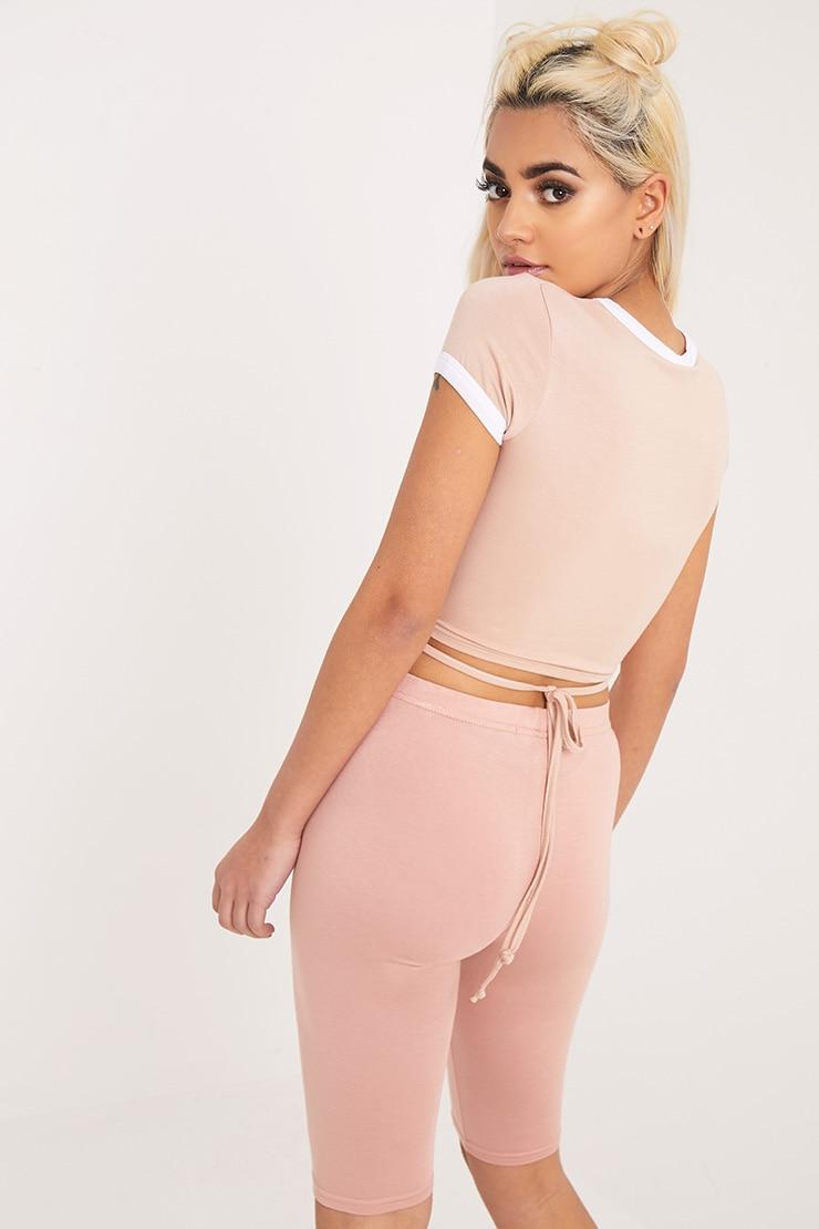 Phillipa Nude Jersey Harness Contrast Crop T Shirt 2