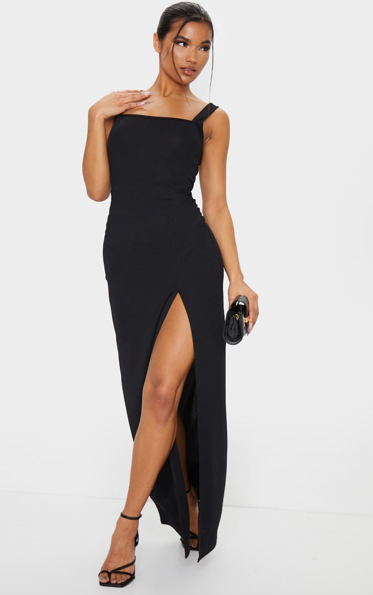Black Straight Neck Maxi Dress 1