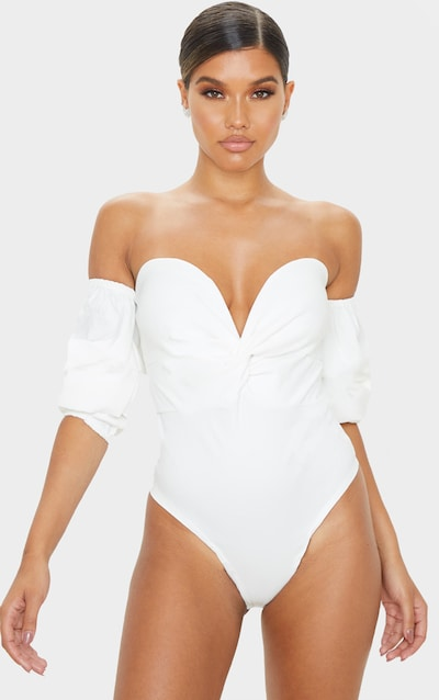Cream Woven Bardot Ruched Bodysuit