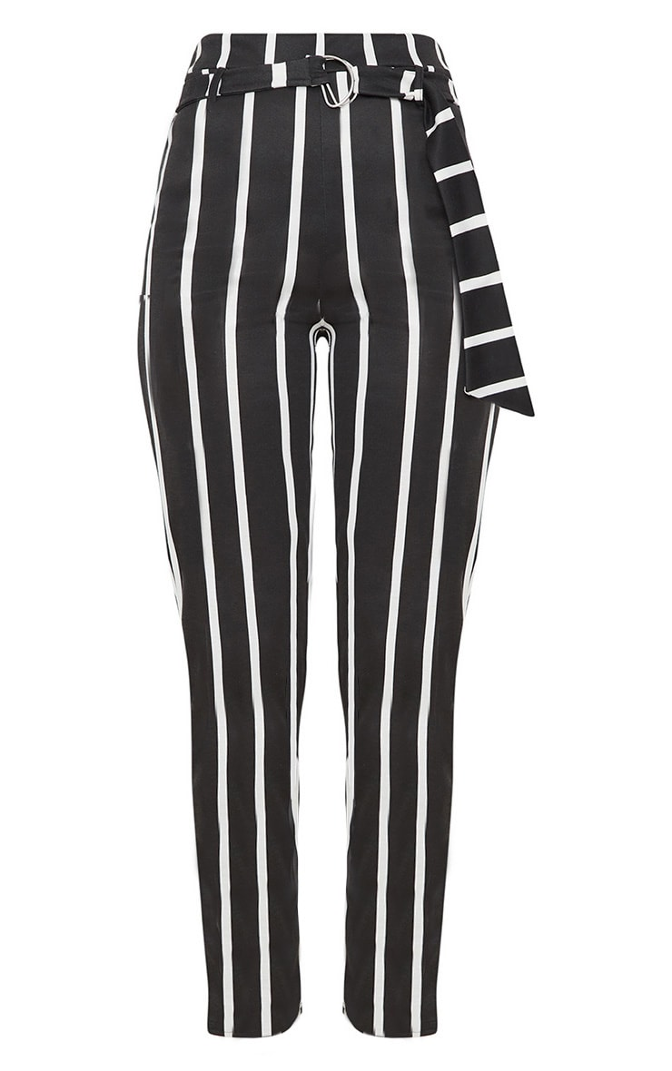 Black Monochrome Stripe Belted Cigarette Pants 3