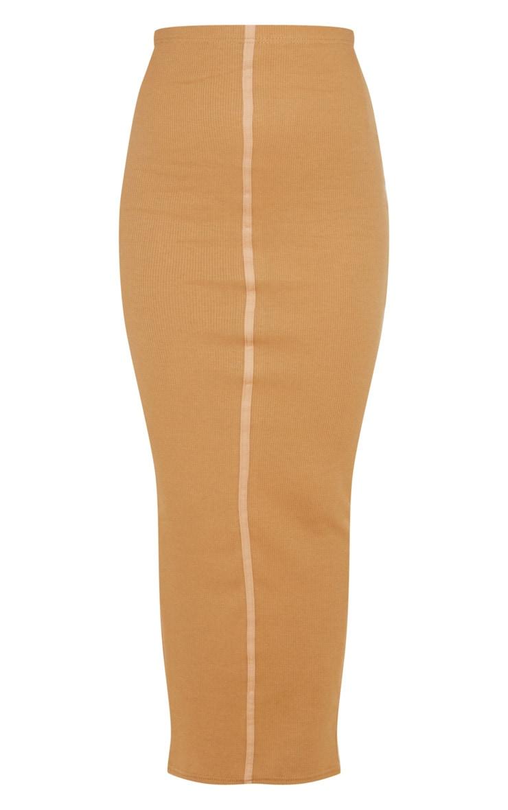 Camel Rib Seam Detail Maxi Skirt 3