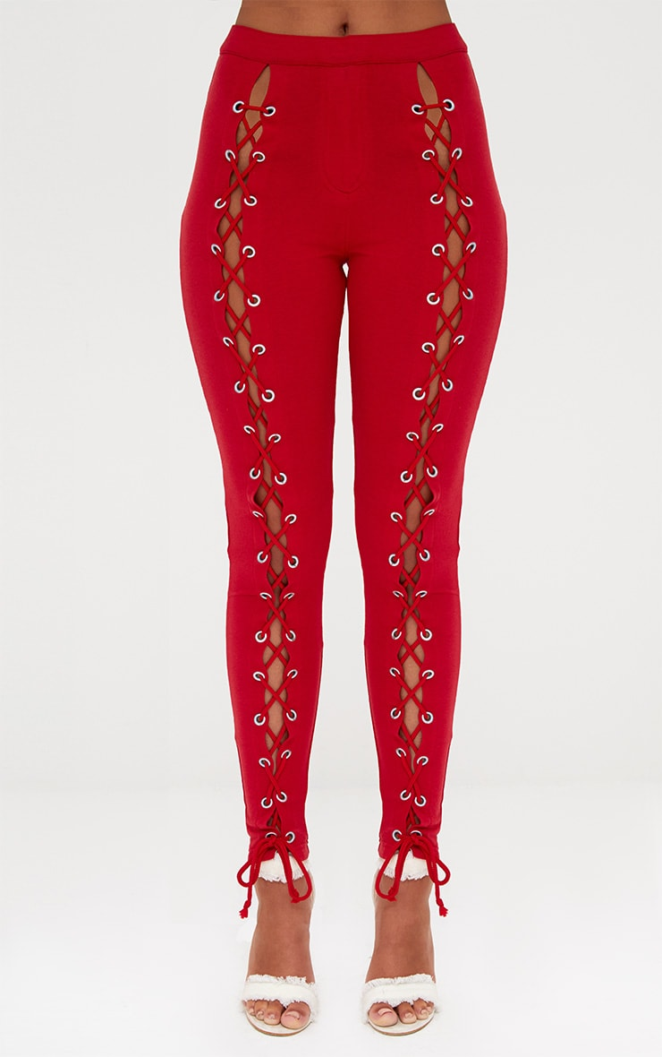 Red Front Lace Up Skinny Trousers 4
