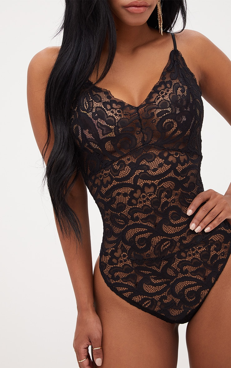 Shape Black Sheer Lace Bodysuit 6