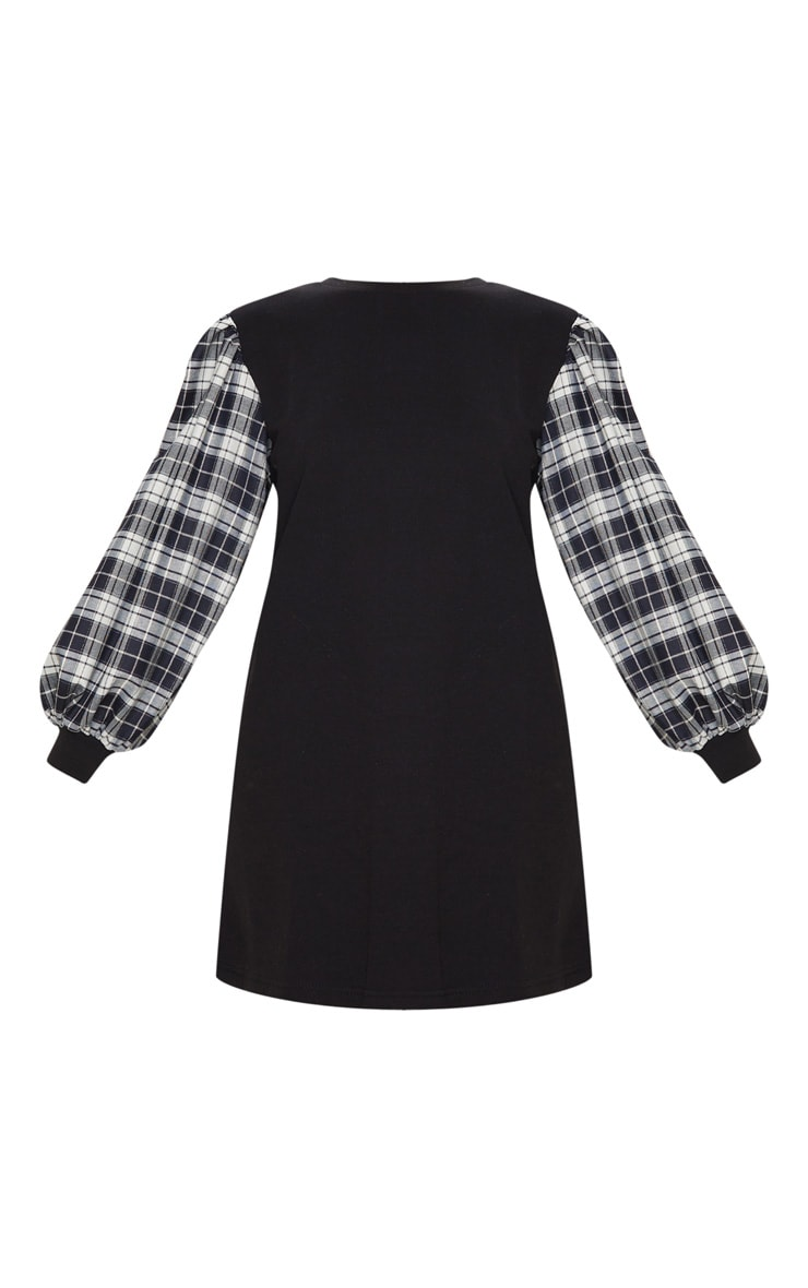 Black Check Print Contrast Sleeve Jumper Dress 5