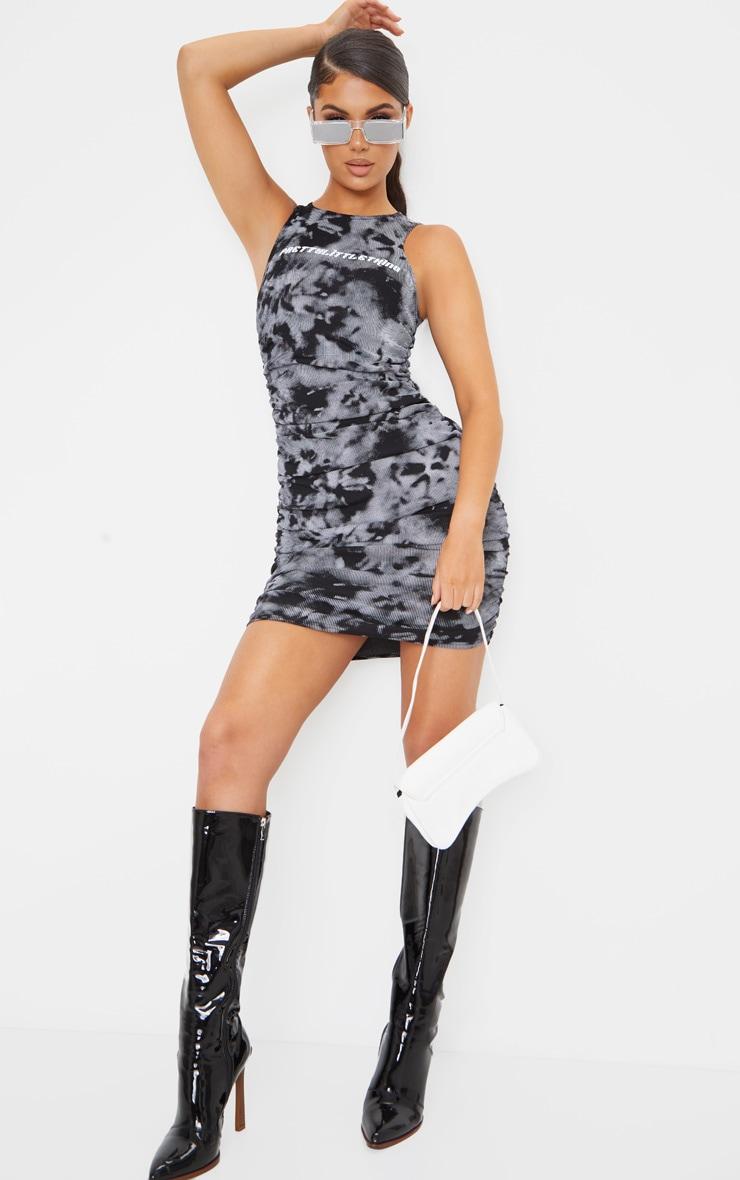 PRETTYLITTLETHING Black Tie Dye Ribbed Racer Neck Bodycon Dress 3