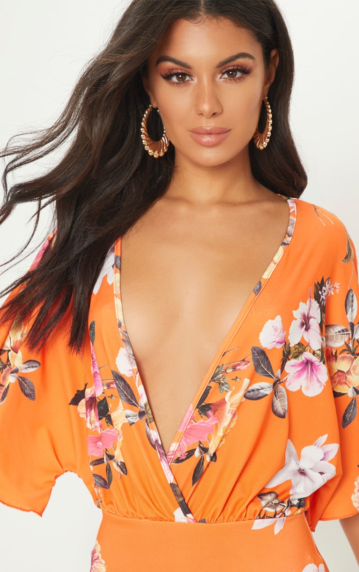 Orange Floral Batwing Bodycon Dress 5