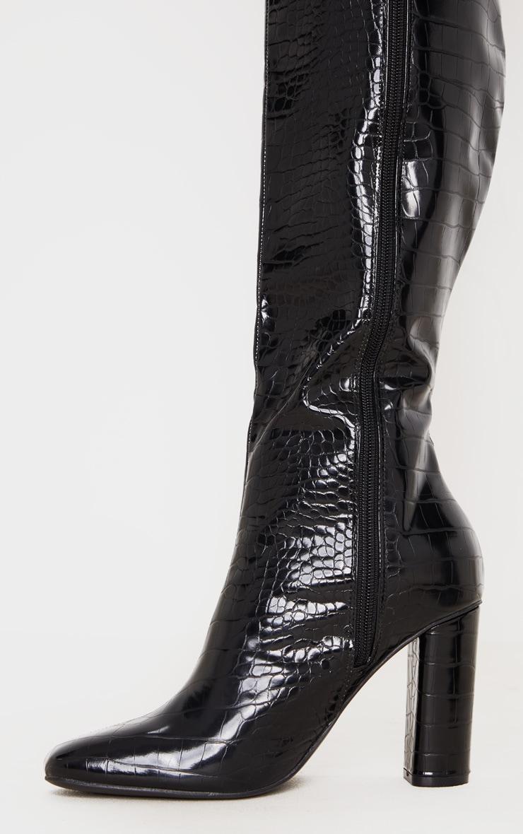 Black Round Block Heel Knee High Boots 4
