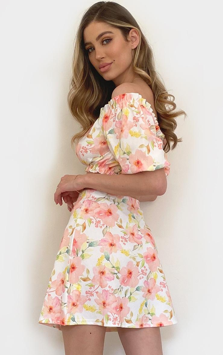 Peach Floral Printed Bardot Ruffle Hem Crop Top 2