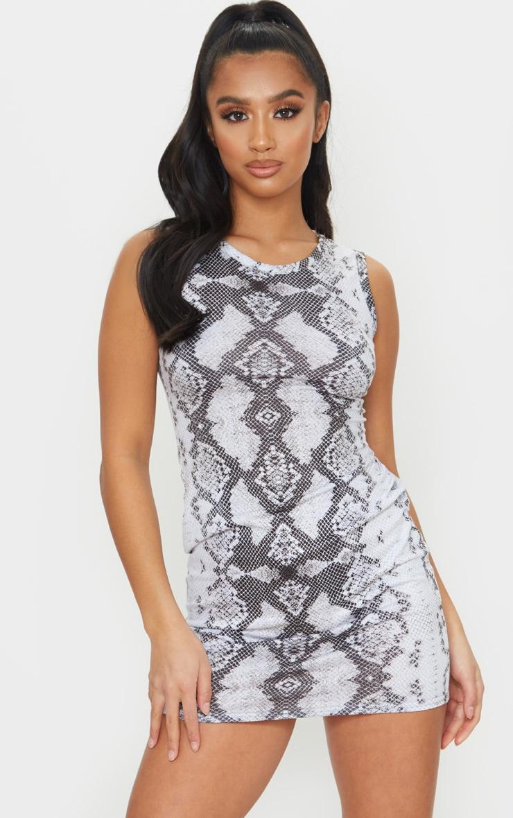 Petite Grey Snake Print Jersey Mini Dress 1