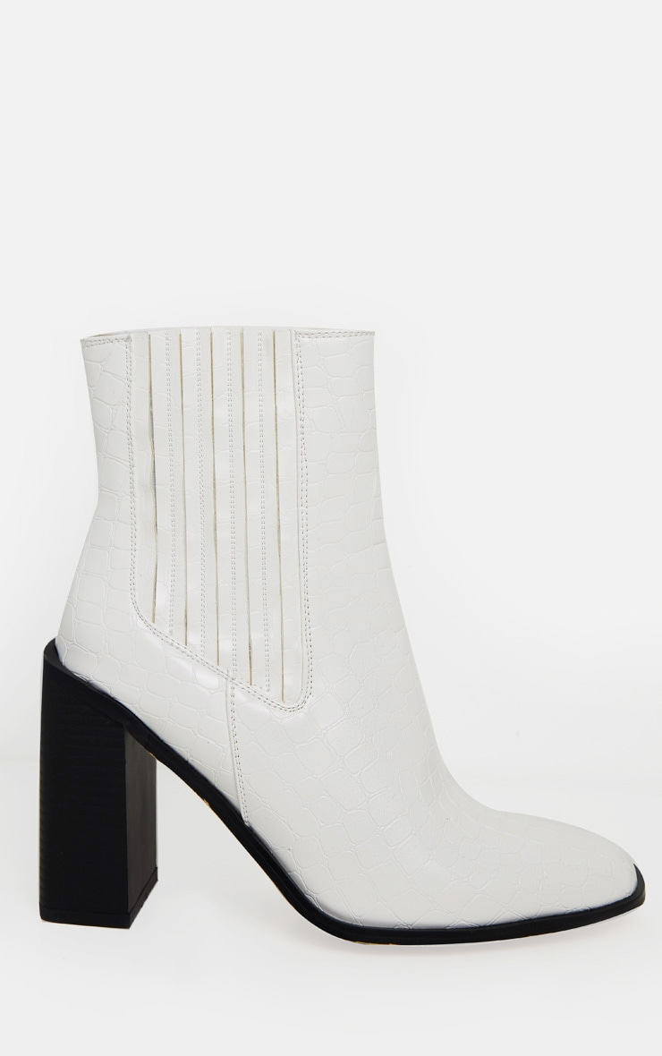 White Croc Block Heel Square Toe Western Boot 3