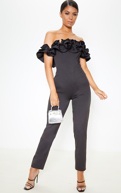 Black Bardot Frill Detail Slim Leg Jumpsuit