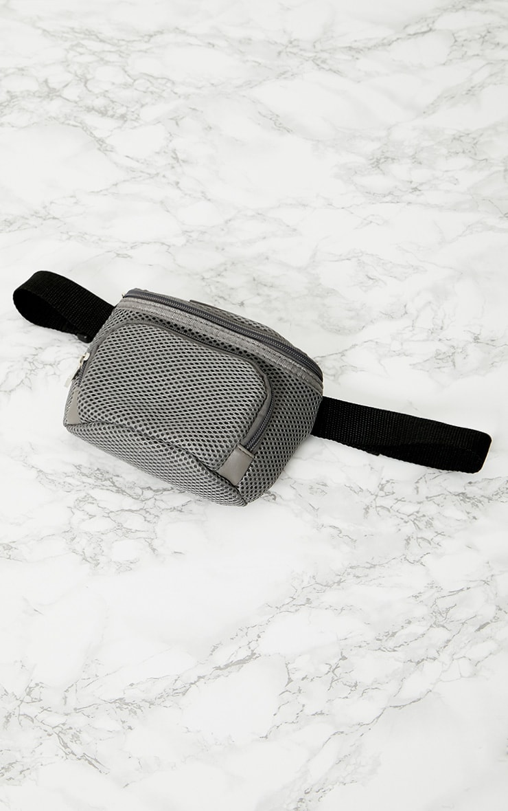 PRETTYLITTLETHING Grey Mesh Bum Bag 4