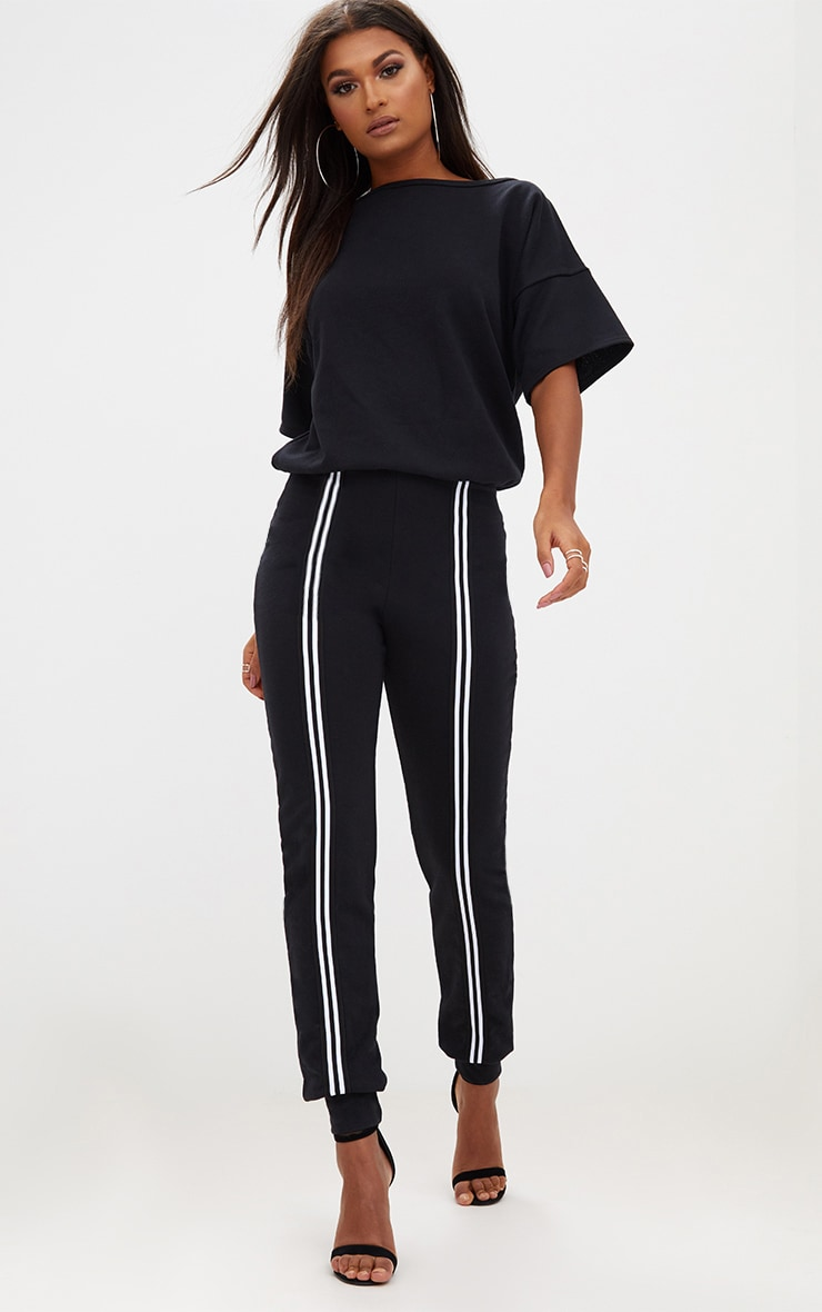 d35fa1c9da Black Loop Back Sports Stripe Jumpsuit image 1