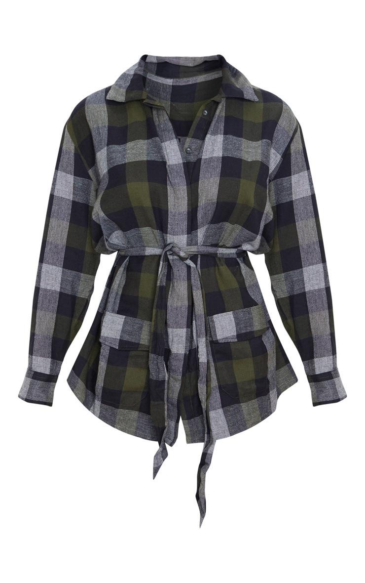 Khaki Check Belted Oversized Shirt 3