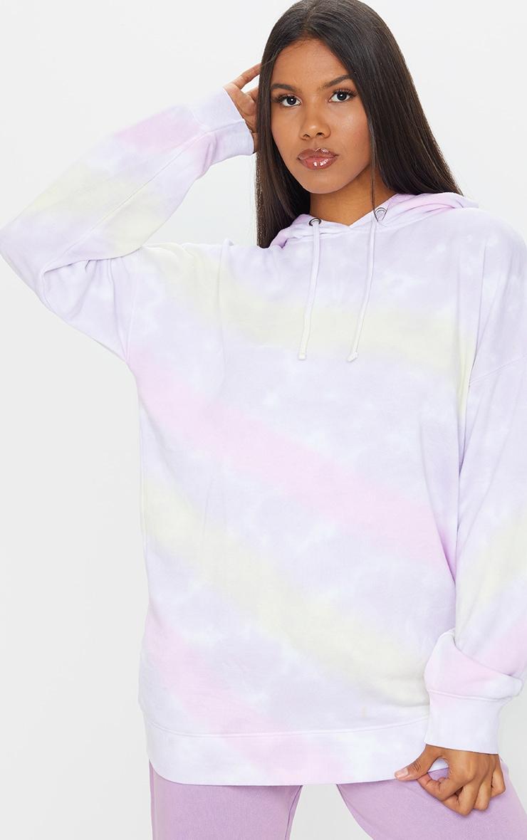 Multi Tie Dye Long Sleeve Oversized Hoodie 1