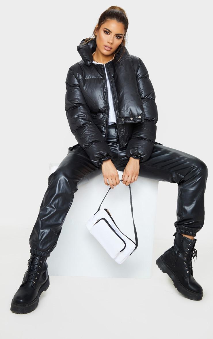 Tall Black Oversized Collar Puffer Coat  4
