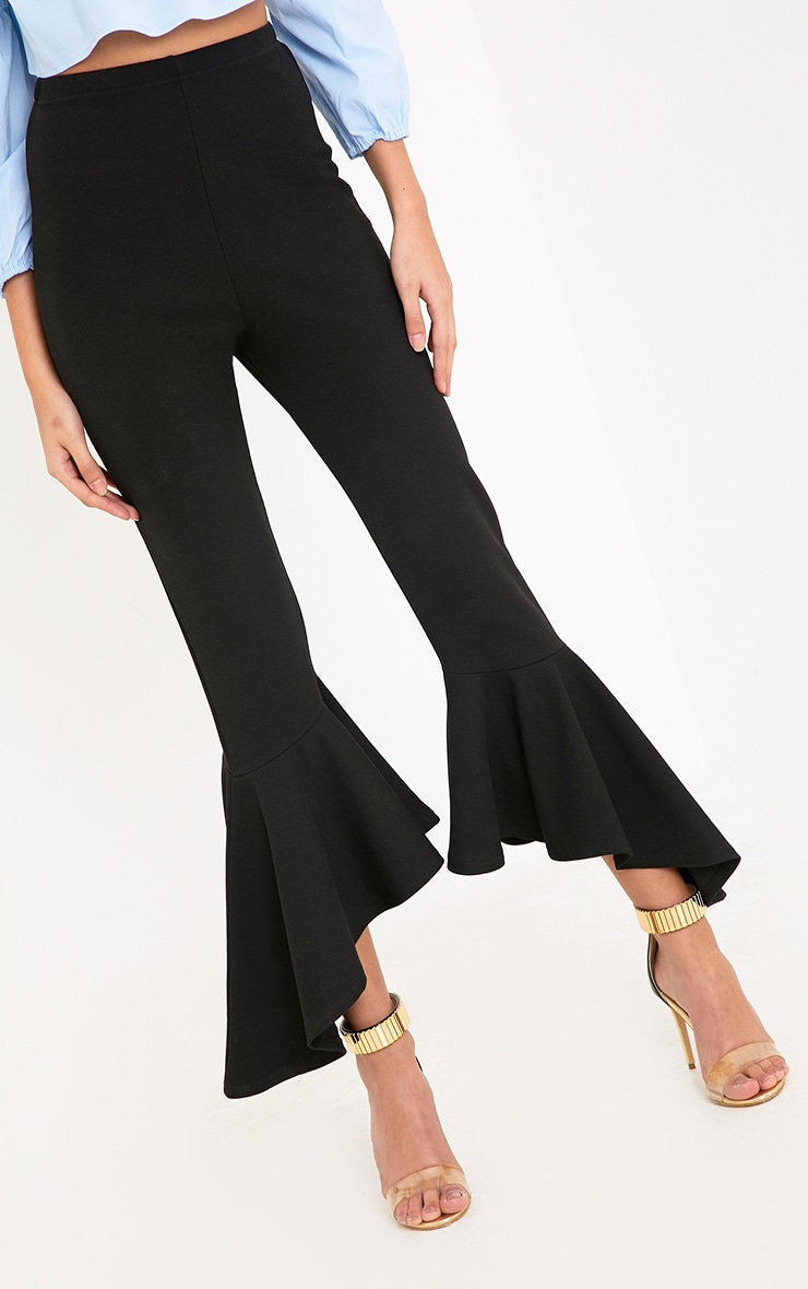 Lourdes Black Asymmetric Flare Hem Trousers 5