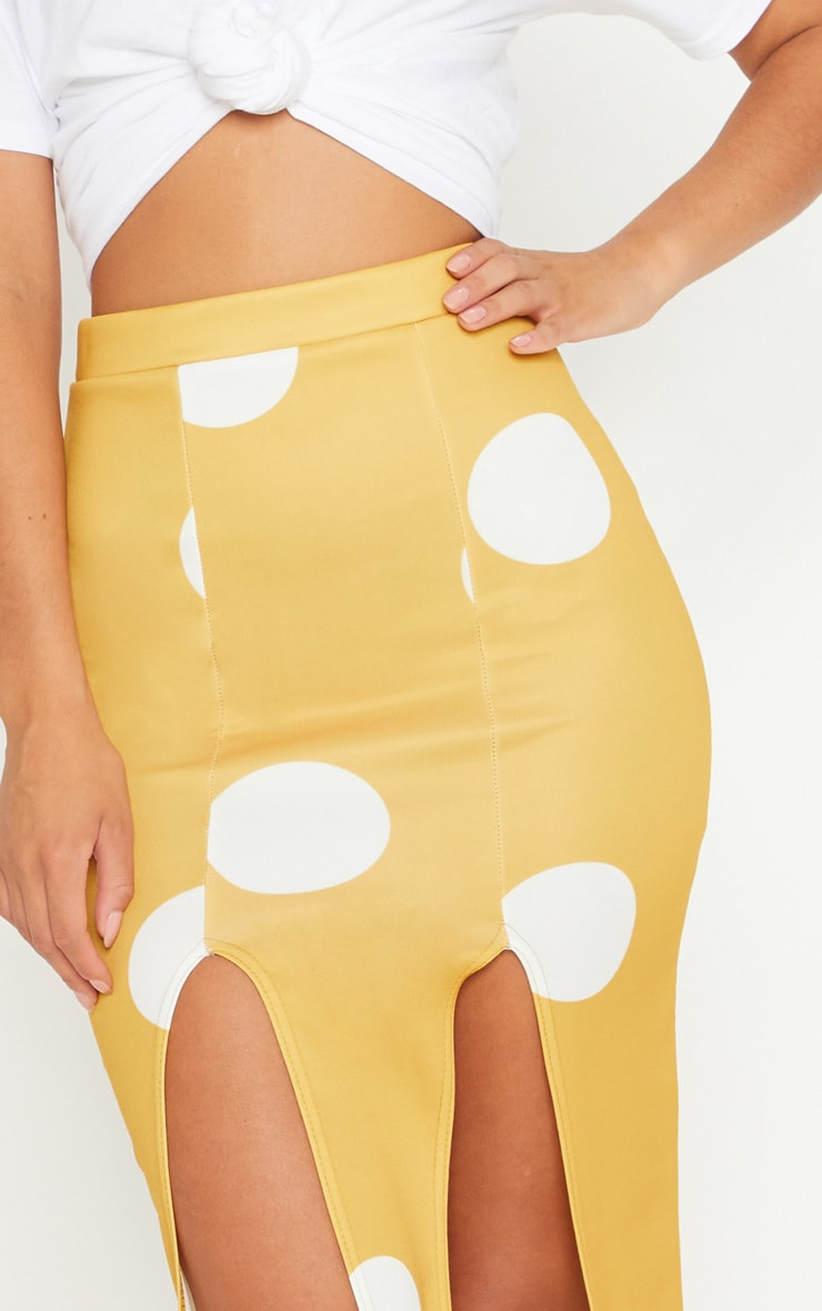 Mustard Double Split Polka Dot Midi Skirt 5