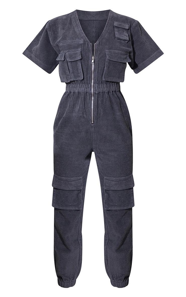 Grey Short Sleeved Cargo Pocket Cord Jumpsuit 5