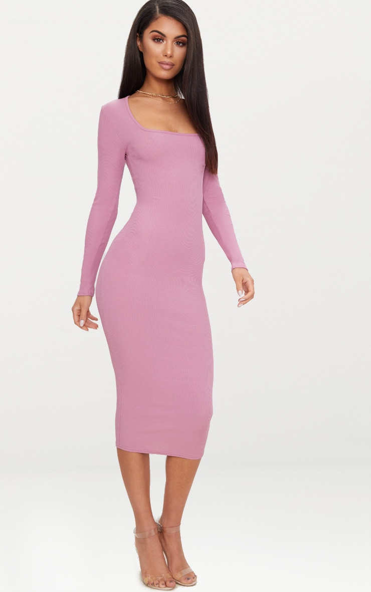 Dark Mauve Ribbed Long Sleeve Midaxi Dress 4