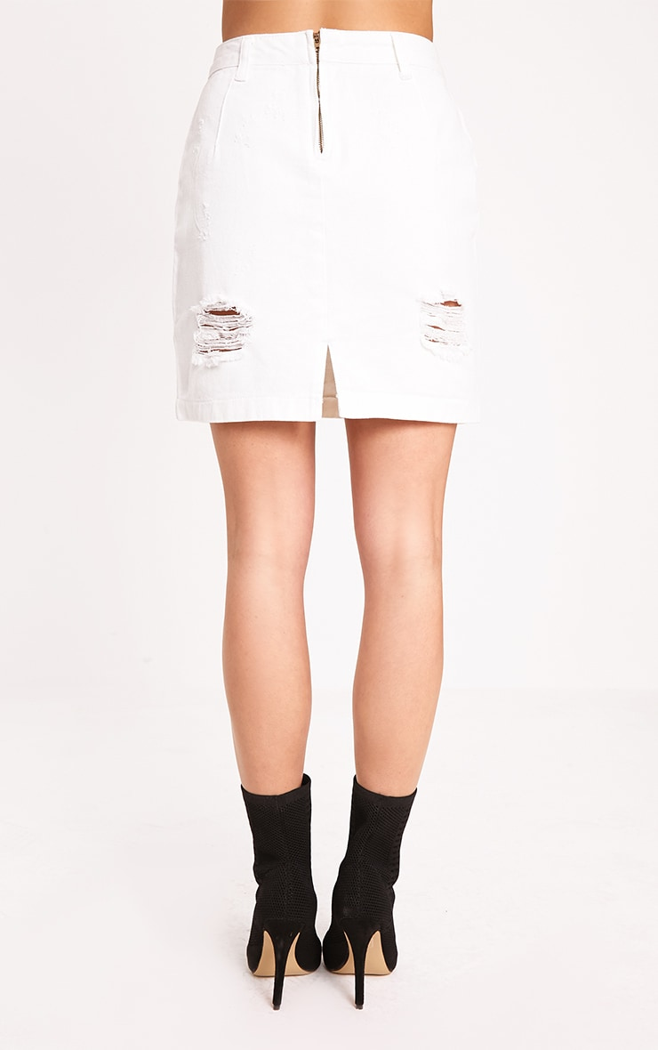 Roschian White Super Distress High Waisted Denim Mini Skirt 4