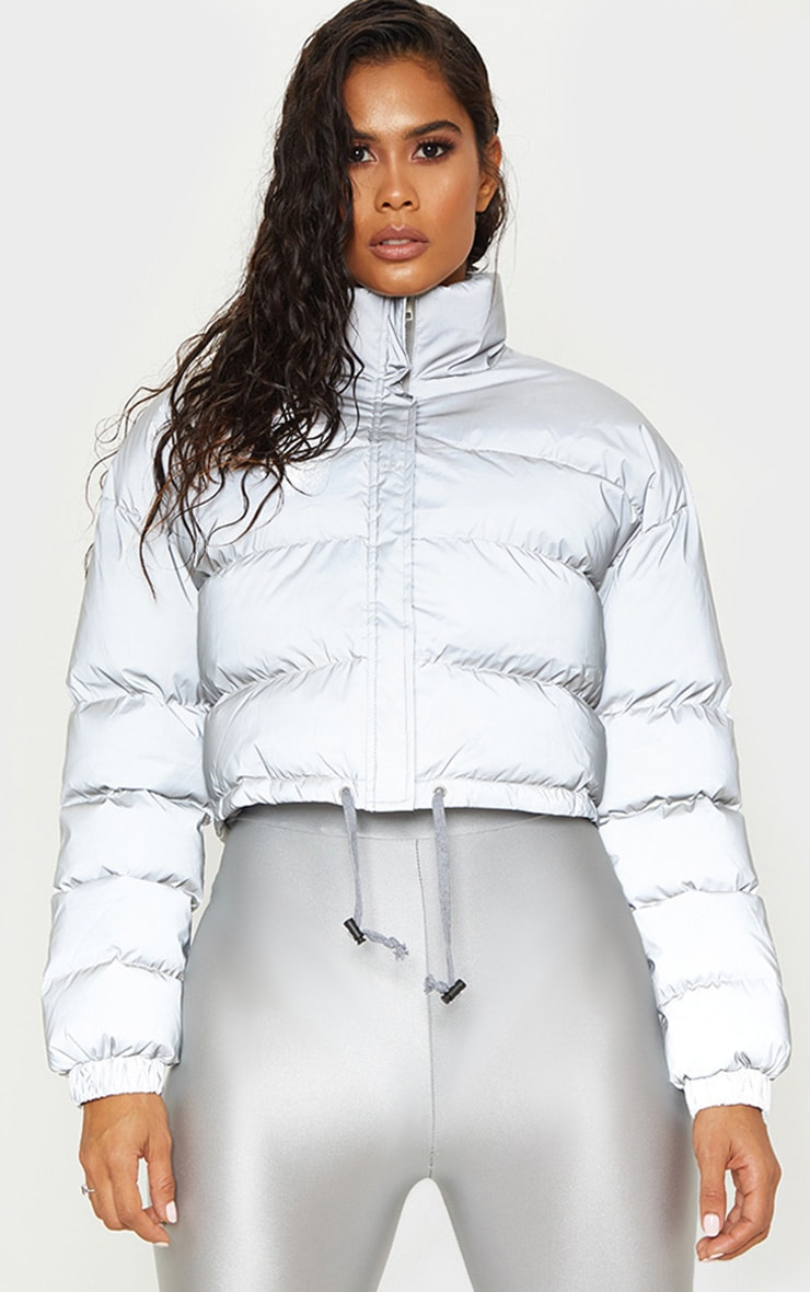 Grey Reflective Puffer Jacket  1