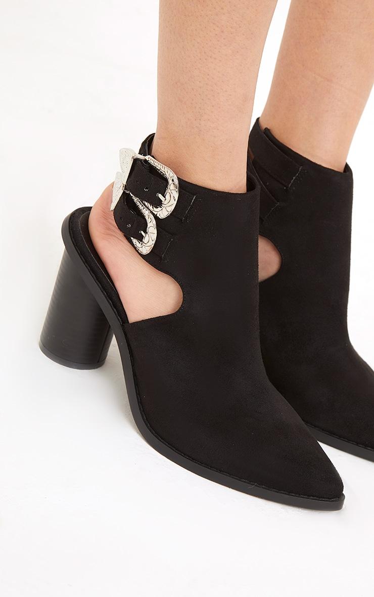 Bernice Black Open Heel Western Boots 5