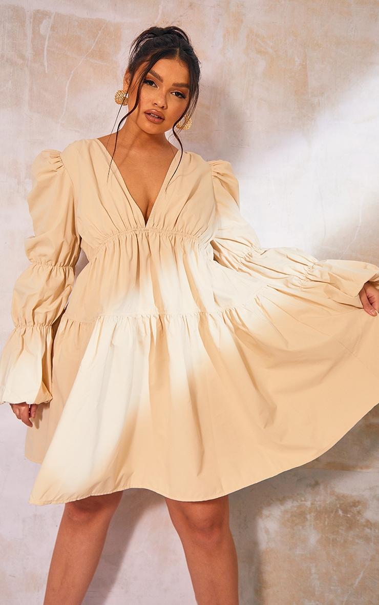 Plus Cream Tierd Puff Sleeve Dress 3