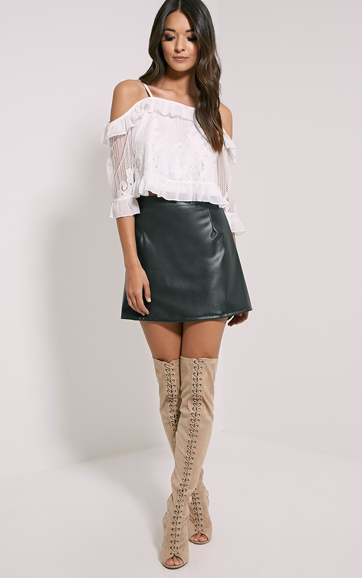 Rose Green Faux Leather A-Line Mini Skirt 5