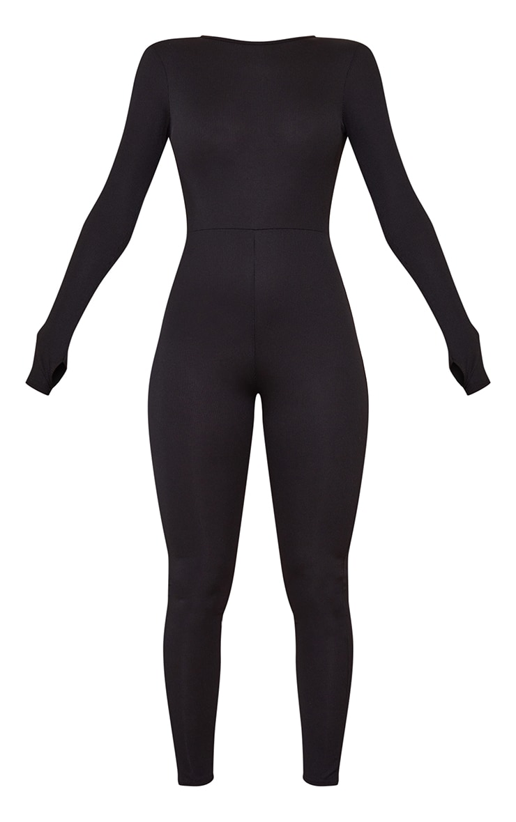 Black Rib Long Sleeve Thumb Hole Jumpsuit 5