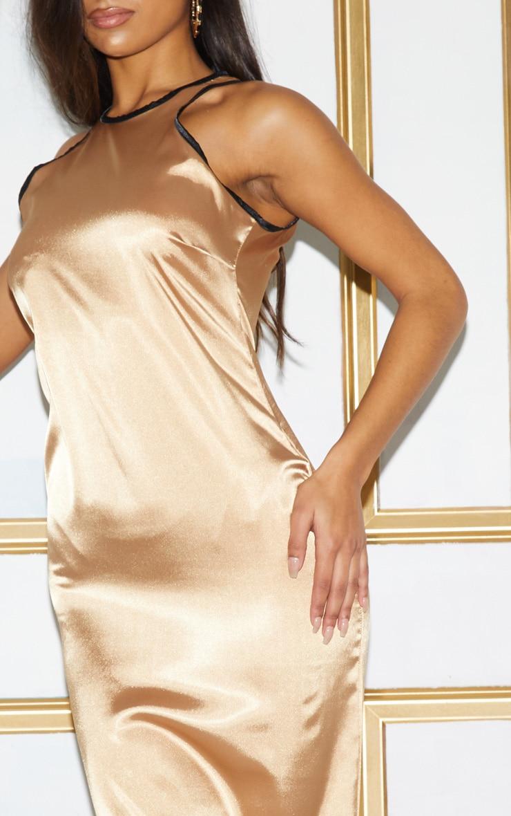 Gold Satin Contrast Piping Maxi Dress 6
