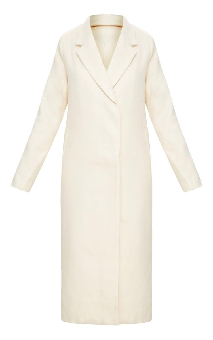 Cream Double Breasted Longline Coat 3